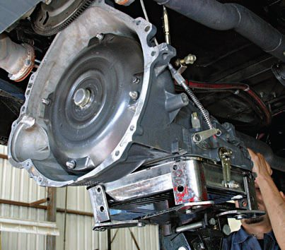 Use proper installation equipment such as a transmission jack or a floor jack with a transmission cradle. Make sure the torque converter is properly seated. It is easy for the converter to slip off input shafts and pump drives and wind up with a faulty installation and pump failure. If you can fit your hand between the converter and the bellhousing, it is not properly seated.
