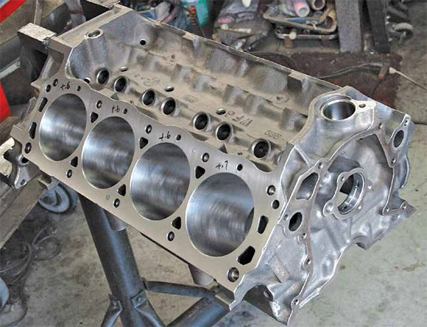 """The small-block Ford's basic block architecture didn't change much over its long production life. This is a 289 block cast at Windsor with a """"WF"""" casting code. Not all 289/302 blocks were cast at the Cleveland foundry."""