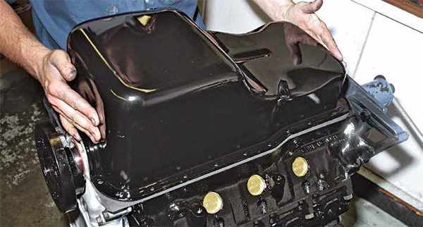 Most small-block Fords are fitted with a front-sump pan such as this one for vintage and truck applications. The Boss 302 pan is exactly like this pan except for the road-race baffle around the pick-up.