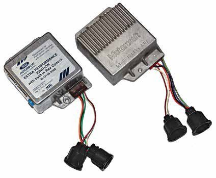 Here are two Motorcraft Duraspark ignition modules. On the left is the Ford Motorsport (M-12199-A302) version for the 5.0L High Output V-8. It has a built-in rev limiter. On the right is a conventional Ford Duraspark II ignition module (D7AE-12A199-A1B). Your nearest auto parts store can provide  you with a good aftermarket  ignition module that offers the  same kind of durability.