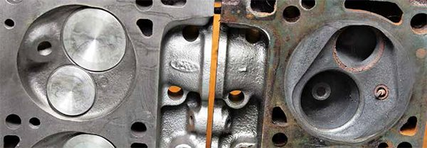 This side-by-side comparison shows the 351C's two combustion chambers. On the left is the 71- to 77-cc open chamber head casting for 1970–1974 351C-2V, 1972–1974 351C-4V, 1972 351C-4V High Output, 1975–1982 351M, and 1971–1978 400. On the right is the 1970–1974 61- to 64-cc 351C-4V wedge chamber. Although the Ford Master Parts Catalog shows variations in chamber sizing across these heads, they consistently show 71 to 77 cc and 61 to 64 cc through many engine builds.