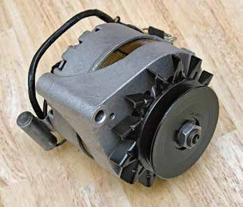 Here's a 1G alternator with a 289 High Performance 3.90-inch pulley, which was used to reduce alternator speed at high RPM. Remember, alternator speed is normally a 3:1 ratio with the small standard pulley. If the engine turns 6,000 rpm, the alternator turns 18,000 rpm with the small pulley. The larger 3.90-inch pulley reduces RPM to roughly 14,000.