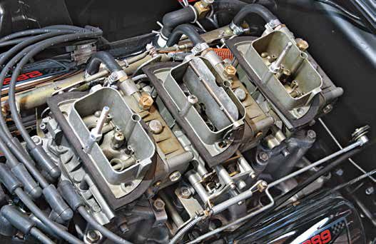 Few things excite like a multiple car-buretion package such as this 289 tri-power con-sisting of a trio of Holley two-holers. According to the late Jon Enyeart of Pony Carburetors, two tri-power packages were produced, Holley List #2867 (C4GF-H) primary and #2868 (C4GF-J) secondaries, then Holley List #2881 (C4AF-U) primary and #2882 (C4AF-V) secondaries.