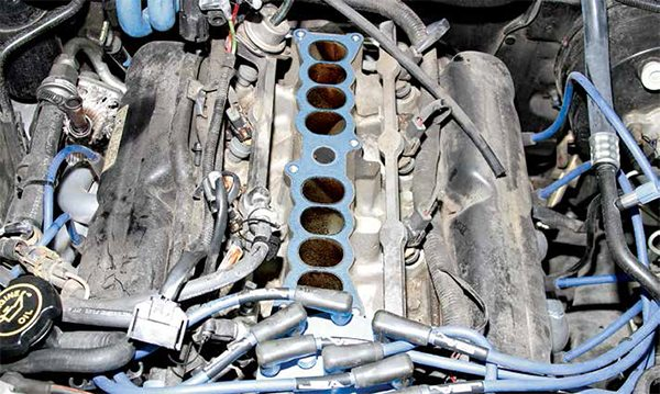 This is the lower half of the two-piece SEFI intake manifold package for 1986–1995 5.0L High Output engines. This is a port-injection system with fuel injectors at each port along a pressurized fuel rail on each bank. The lower intake manifold remained virtually the same from 1986 to 1995.
