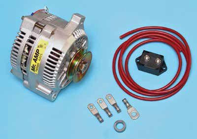 The aftermarket offers a wealth of 3G alternator conversion kits including this one from Performance Distributors. You can convert a vintage Ford charging system to 3G or even the 2G to 3G for increased charging capacity and safety. This 3G alternator has a V-belt pulley, which is easily swapped for a serpentine belt-drive pulley.