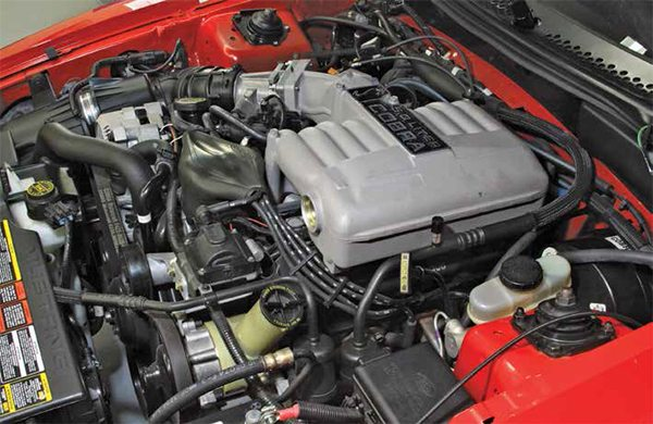 This is the 1993 SVT Mustang Cobra 5.0L V-8 with the GT-40's unique upper intake. It was engineered for improved breathing and a nice increase in power.