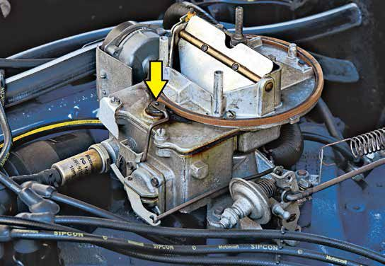 This 1968–1969 Autolite 2100 has the closed fuel bowl vent system. Open the throttle and this vent opens via the accelerator pump linkage to allow air displacement. Close the throttle and this vent closes to reduce hydrocarbon emissions (fuel vapors).