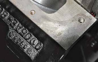 The engine assembly date code was also stamped in the block pan rail near the casting number and date code. If you find a block that has been decked and the engine assembly date is gone, look for the stamped date code here.