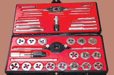 Craftsman sells inexpensive tap and die sets, such as this one. It has saved me time and money countless times on automotive projects. They are a good investment, particularly when working with old hardware. A cleanup chasing of threads on engine fasteners before assembly provides a more accurate torque application where required and eases the assembly of other components. Do not buy cheap off-brand tap and die sets. They are often made from inferior materials and not built to exacting standards of size. Believe me, nothing is more frustrating than breaking off a tap in a bolt hole.