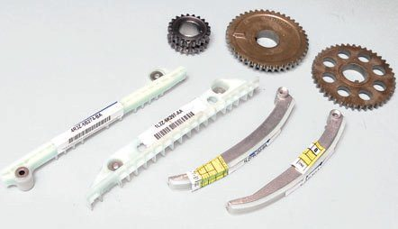 "Since 2000, Ford has used plastic chain guides in Romeo engines, which are lighter and quieter than steel guides. Driver- and passenger-side cam gears are easily distinguished by the sensor ""hump"" on the driver-side gear (in the middle). The pivoting guides are also driver- and passenger-side specific, which calls for close attention to detail during installation. If you install them backward you may have expensive engine damage. Windsor engines have used the plastic guide since the plant began Modular production in 1996."