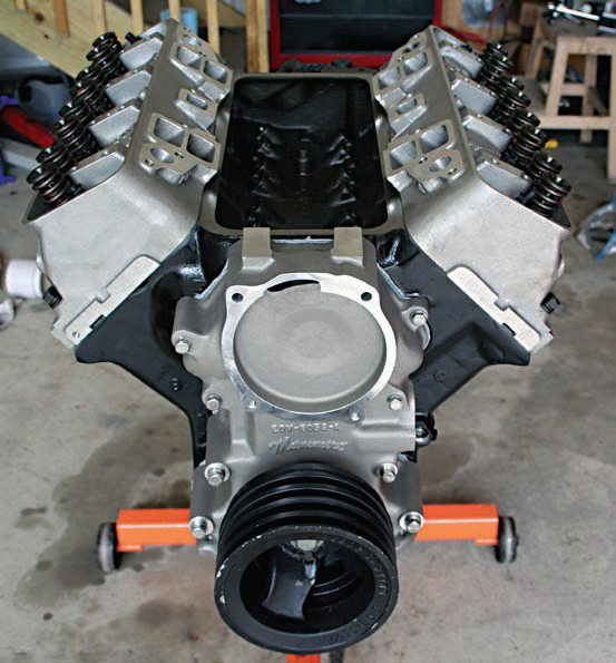 The 322-ci performance Y-block is now in long-block configuration, and it looks great with the cylinder heads and other aluminum parts installed. I expect it to run as good as it looks.