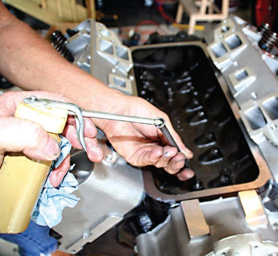 When installing the rocker arm assemblies and pushrods, don't forget to give all components a good coating of oil because it provides protection from friction damage during initial start-up of the engine.