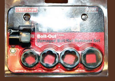 With old, rusted, rounded-off bolts and nuts, this Bolt-Out set by Craftsman has helped me out on more than one occasion. You often need a tool like this only once but it's certainly worth the investment. If you must resort to using this type of tool to remove a damaged nut or bolt, remember to discard and replace the damaged fastener with one of appropriate size and design. Bolt-Out nut and bolt extractors are designed to grab even the most rusted and rounded-off hardware. Once you have encountered a nut or bolt that has been rounded off because someone used the wrong wrench, socket, or other tool in the past, the need for quality tools in your home shop becomes very clear. The time and effort saved is worth the investment.