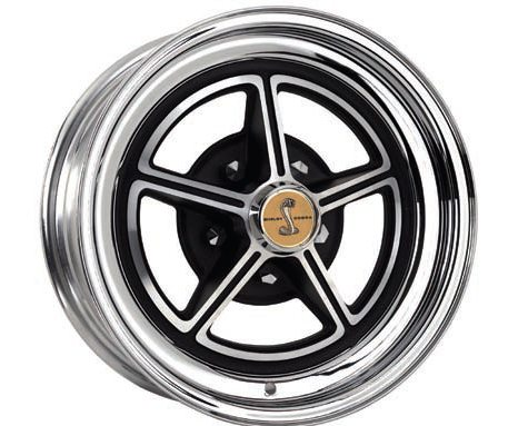 This 1967 Shelby Magstar replica wheel is a hybrid construction in that it combines a CNC-machined aluminum center section with a chromed, spunsteel outer rim. This allows for a lighter wheel with sharper distinct features than if it were an all-steel wheel. The machined edges on the center section enhance the effect of the black paint while also providing more visual depth and character. Because this is a replica wheel it is only available in the original 15 x 7 size but there are many other examples of wheels with similar construction and/or features in this and other sizes. (Photo Courtesy Specialty Wheel)