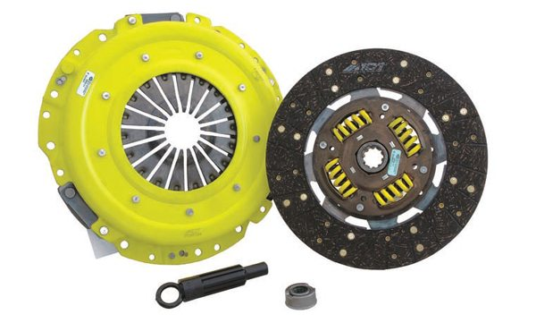 A suitable flywheel must replace the flexplate used with an automatic transmission. For a daily driver you usually go with a direct replacement flywheel of similar stock weight. In most cases you use a 157- or 164-tooth steel flywheel with a special six-bolt pattern, which ensures the flywheel can only fit one way to maintain correct engine balancing. For a mildly to moderately modified Mustang a single-plate aftermarket clutch is usually a better choice than an OEM/direct-replacement setup. (Photo Courtesy Advanced Clutch Technology)