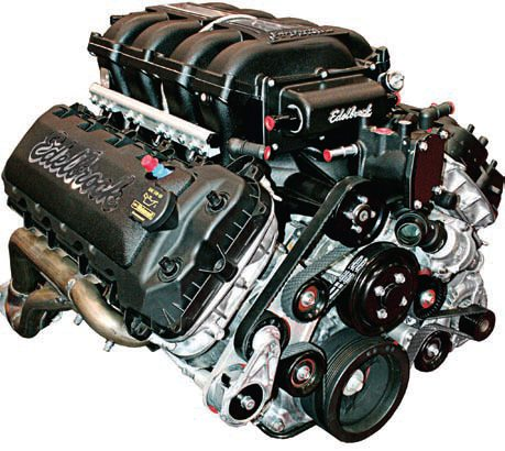 f the older and larger members of the modular engine family don't seem to be a feasible option there is one more to consider: The 2011 and newer 5.0L Coyote engine. Or in this case, the Edelbrock 5.0 Coyote crate engine is a definite consideration. It is significantly more powerful (412 hp or more) than all but the 5.4L and 5.8L engines yet it is significantly less bulky than both of those and the older 4.6L DOHC engines. It is only marginally larger than either (two- or three-valve) 4.6L SOHC engine plus it only weighs about 20 pounds more. The complexity of the electronics, particularly those that control the Ti-VCT camshaft timing, make it very difficult to realize the full potential of this engine with a production-based control system. (Photo Courtesy Paul Johnson)