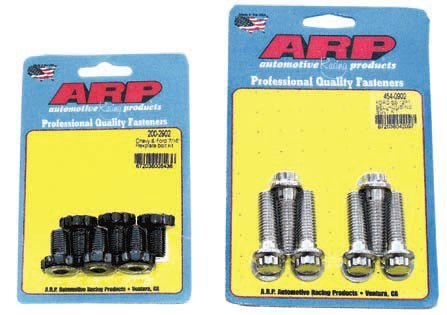 Use of the correct mounting bolts is critical. Some component combinations require special bolts with thinner heads and/or special washers to prevent problems. This can be further complicated when you use a stiffening plate. Always upgrade critical fasteners, such as flexplate and bellhousing bolts. These ARP fasteners are made from stronger materials using better manufacturing and quality-control methods. They have design features, such as smaller heads and special coatings, to ease their installation and improve their durability. ARP matches the fasteners precisely for their intended use and provides all washers.
