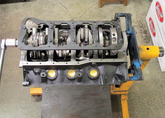 """The finished CHP 347 stroker short-block doesn't look too different than most others except for possibly the inclusion of the main bearing girdle. Every CHP crate engine, shortblock, or long-block comes with a build sheet detailing the final specifications. This """"blueprinting"""" is included in their price (but is an extra-cost service when an engine is built by a shop). Careful matching and precision balancing of the components ensures each one closely meets your spec."""
