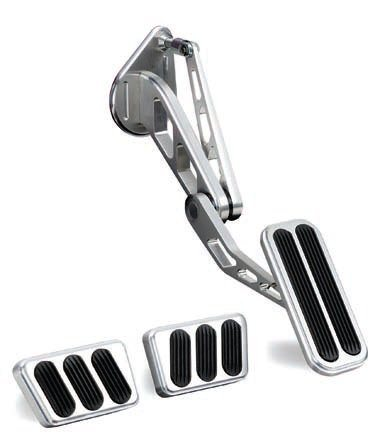 This Lokar gas pedal with pad for 1965–1968 Mustangs is made of 6061 T6 aluminum. It's a direct replacement for the stock assembly and is ideally installed with the Lokar throttle cable and brackets. The spring-loaded gas pedal, Delrin bushings, and high-quality cables provide a much smoother and precise throttle actuation. The billet aluminum brake and clutch pedals with pads are also shown. (Photo Courtesy Lokar Performance Products)
