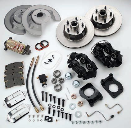 The SSBC Force 10 is a high-performance street system. This is a complete kit that includes a manual brake-bias valve, a brake-line pressure gauge, and a new master cylinder (necessary when converting from drums). The vented rotors are up-sized a bit and feature slots and plating. The fixed front calipers allow for quick removal of the included pads.