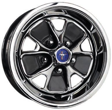If you wish to keep a relatively stock look and size wheel on your car there are numerous sources for virtually any original-style wheel in a 14- or 15-inch size. This Ford replica wheel from Specialty Wheel is just one of the 10 or so classic styles they offer with the correct bolt pattern and backspacing. Some of them are also available in larger diameters. These wheels are manufactured with dies, which have closer tolerances and sharper edges (plus CNC-machining, etc.) than the original wheels and also benefit from better, more-durable materials and finishes. (Photo Courtesy Specialty Wheel)