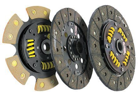 The two discs on the right utilize smoother, more street-friendly organic facings with the main distinction between them being a solid versus a sprung hub. The latter is better suited to street use while the former can handle more torque and likely perform better at the track/strip. The disc on the left combines a sprung hub with a ceramic/metallic facing material to increase torque capacity while still trying to maintain reasonable street driving manners. (Photo Courtesy Advanced Clutch Technology)