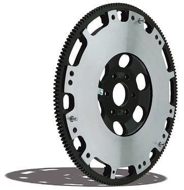 This lightweight steel flywheel from ACT is a prime example of the type of flywheel best suited to the highperformance street car. It retains enough weight to make pulling away from a stop on the street fairly simple yet it still provides a meaningful reduction in inertia to improve engine response. (Photo Courtesy Advanced Clutch Technology)