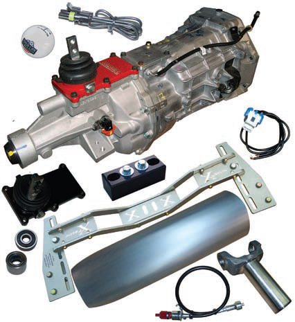 The conversion to a T-56 involves a few different items such as a different-length driveshaft and some different connections for the speedometer and wiring. The transmission crossmember likely also needs to be changed; a good idea anyway due to the increased power. Shifter and handle changes are similar to the TKO. (Photo Courtesy Tremec)