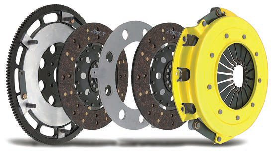 This exploded view of ACT's twindisc clutch shows why this design is usually called for when torque levels are extremely high. Rather than using a single, largediameter clutch disc (which is heavy and has much more rotational inertia) this design divides the total friction surface area over two smaller discs. (Photo Courtesy Advanced Clutch Technology)