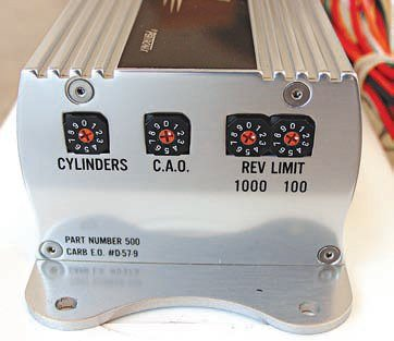 """The PerTronix Second Strike unit has adjustments for the number of cylinders of the engine, the crank angle offset (CAO), and an adjustable """"soft"""" digital rev limiter, which is far more accurate (within .01 percent) than analog products. Second Strike first randomly drops a single spark event. The RPM limit is adjustable in 100-rpm steps via the digital rotary switches (no need for external resistors). There are only five wires to hook up."""