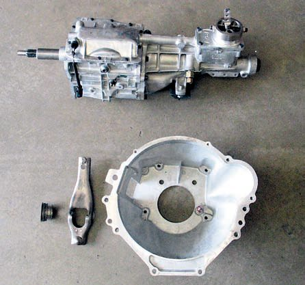 The T-5 transmission is by far the easiest manual OD conversion to perform. It requires minimal changes, presents the fewest issues in terms of packaging, and easily fits into the transmission tunnel. It's light yet strong enough even for moderately modified vehicles. In some cases you can retain the existing crossmember and driveshaft, although you have to add all of the clutch-pedal-related items.