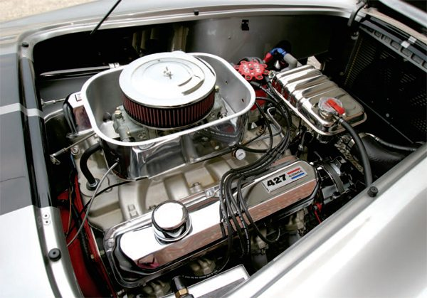 Southern Automotive rebuilt the Ford FE big-block mill for Morgan's Unique Motorcars roadster. With the turkey pan and the Stelling & Hellings air cleaner, the FE engine's a dead ringer for a Cobra 427 powerplant.