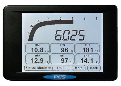 The PCS D200 Dash Logger allows you to monitor data from their controller and add data from other sources into a single display. It can be configured to provide warnings based on your parameters, used as a large-screen tach with a built-in shift light, and communicate with external devices via RS-232 or CAN 2.0b protocols. (Photo Courtesy Powertrain Control Solutions)