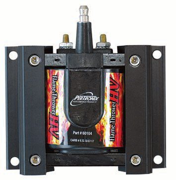 When using an amplifier box it's imperative to use a properly matched coil. PerTronix recommends their FlameThrower HV coil for the Second Strike. It's an efficient E-core design capable of producing upward of 60,000 volts without internal shorting or other problems such high voltages can cause. The vacuum potted coil body is mounted in a 6063 T5 aircraft aluminum bracket that acts as a heat sink. It not only helps keep coil temperatures down but also makes it rugged enough for hot and vibration environments. These coils have brass terminals for better conductivity and are available in three primary resistance values, including .45 ohm for the Second Strike and most CD-type boxes.