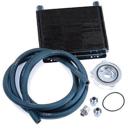 "A remote oil cooler keeps the engine oil temperature in an acceptable range (usually below 250 degrees F). This is suitable for extended highRPM and competition use. The best products, such as this SuperCooler from B&M Racing, use a ""stacked plate"" design that's more efficient and robust with less pressure drop than cheaper tube-and-fin designs. These products install very similarly to a remote oil filter setup. (Photo Courtesy B&M Racing)"