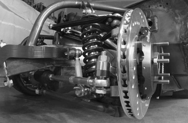 This front suspension is a mix of off-the-shelf stock-car racing parts and custom fabricated and machined parts. Suspension analysis software and experience were combined to pull off this feat. Even the frame is completely fabricated. (Photo Courtesy John Parsons, Photography by John Ulaszek)