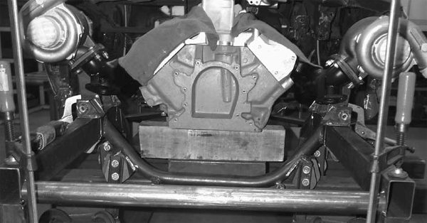 The engine block is a P-Ayr composite replica block. It weighs about 15 lbs, has all the factory bolt-bosses, and works great for building a custom chassis, running a turbocharger, or doing any kind of serious modification. This one is waiting for custom engine-mount fabrication. (Photo courtesy Greg Carter)