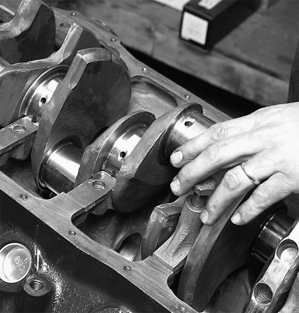 Each main-bearing cap is carefully installed and seated.
