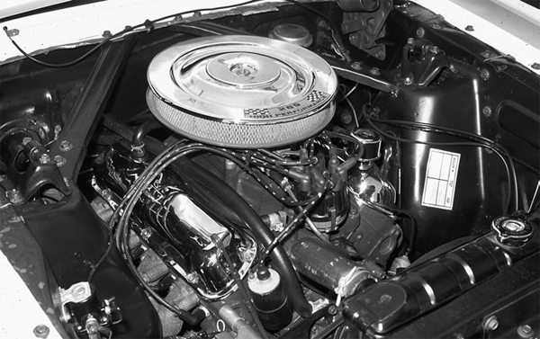 Also introduced in 1963 was the 289 High Performance V-8. It sported Autolite 4100 four-barrel carburetion, an aggressive mechanical lifter camshaft, special cylinder heads, a larger harmonic balancer, thicker main bearing caps, a hand-picked cast crankshaft, and cast iron headers. The result was 271 horsepower at 6,000 rpm.