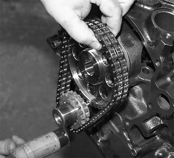 Next, the Crane dual-roller timing set is installed to tie things together. Take note of the proper location of the timing marks.