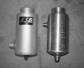 All power-steering reservoir tanks are not created equal. The cheap circle-track tank on the right is not fit for street use. The inlet is up too high. The KSE tank on the left has a superior design.