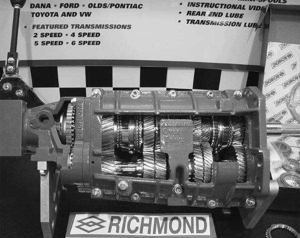 The Richmond overdrive 6-speed transmission is available with plenty of different gear ratios to meet your needs. They used NASCAR-proven technology from their Super T-10 racing transmissions to aid in its initial design. This is a cutaway display model that shows the gears, syncros, and other internal parts. The shifter location and overall length are close to the dimensions of some early Muncie 4- speeds, but the transmission mount is 4 inches farther rearward than the mount on those same Muncies.