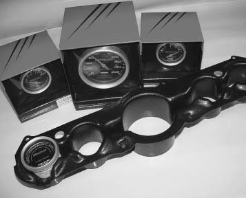 Installing new aftermarket gauges can be a tedious project. The Mustang Shop is manufacturing a gauge chassis that firmly holds Stewart Warner and other aftermarket gauges. It bolts to the original dash cluster and positions the gauges so the original cluster fits perfectly.