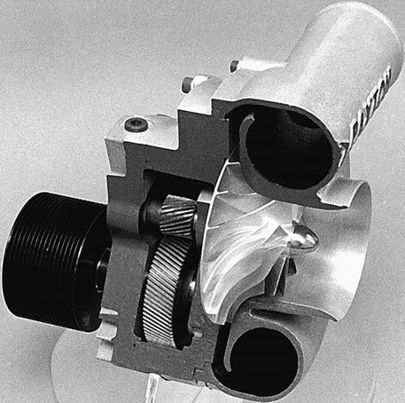 This is the high-tech Paxton Novi centrifugal supercharger for small-block Fords. Thanks to its roller bearing design and step-up gearing, it gets the job done reliably.