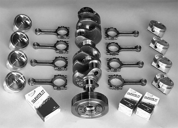 This is the Scat 331ci stroker kit from JMC Motorsports. Included, depending on your budget, is a high-nodular iron crankshaft, forged I-beam rods, forged Ross pistons, Total Seal piston rings, and Clevite 77 bearings.