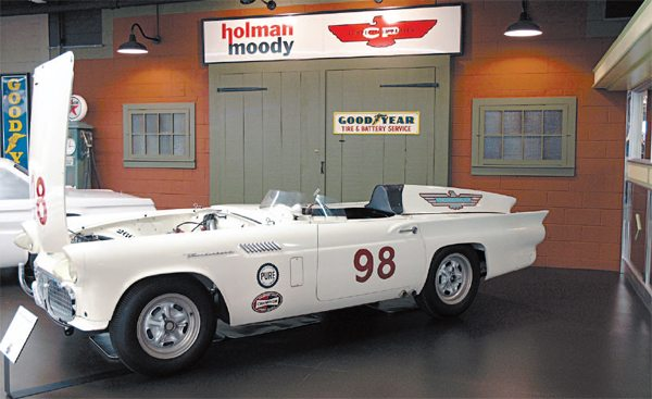 """The 1955–1957 """"Baby Birds"""" (and racing spin-offs like the #98 Battle Bird) would have been good fits into Ford's Total Performance campaign, but by the time the program kicked off, the T-Bird had evolved into a two-ton-plus land yacht and conjured up images of anything but performance. Ironically, the AMA Resolution black-flagged the racing career of Battle Bird but while it was racing, it was once bettered by a 4.9-liter Ferrari driven by a talented young driver named Carroll Shelby"""
