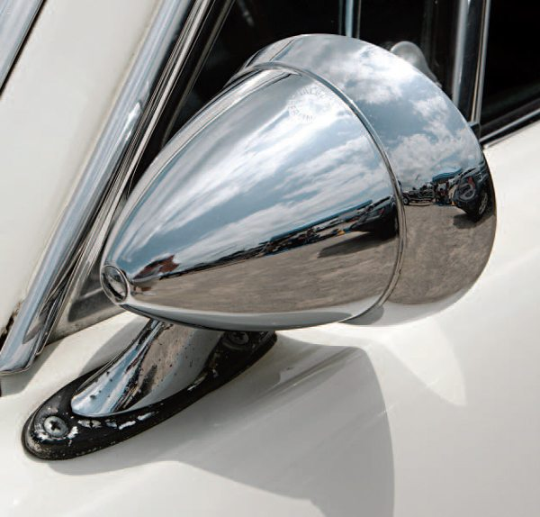 """The """"bullet"""" mirror was a popular sports car item in the 1960s and many manufacturers had their own design, all with similarities to and differences from the Talbot unit."""
