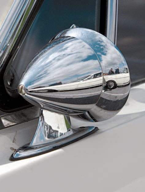 Originally, the 1965 GT350 was built and sold without a driver's door mirror. This led to various types of mirrors being fitted to the doors by owners, either by the owners themselves after purchase, or by the selling dealers.The German Talbot Jr. was one of the types of exterior mirrors fitted to 1965 Shelbys.