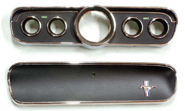 Late in 1965, Ford introduced an optional and somewhat racier five-dial instrument cluster that was also accompanied by a complementing glove compartment door. The near-specification 1966 GT350s (those cars built on a 1965 Mustang chassis) utilized the new five-dial dash, but for reasons unknown, did not utilize the accompanying glove compartment door; they retained their 1965 glove compartment doors. Thus, there was a mix of standard and optional 1965 Mustang dashboard components.