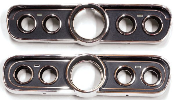 "While the optional 1965 and the standard 1966 Mustang five-dial clusters appeared identical at first glance, a close look reveals subtle differences in the inner chrome trim rings. The 1965 bezel has what have come to be called chrome trim ""eyebrows"" while the 1966 unit has a fully concentric trim ring."